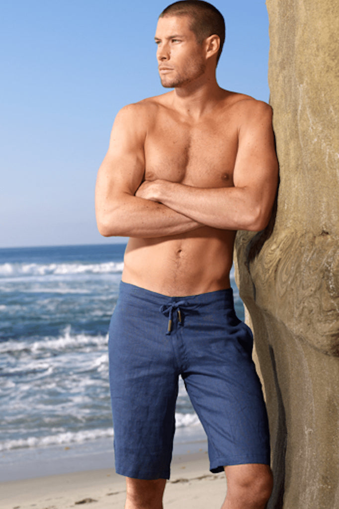 Navy Linen Shorts - Sauvage Activewear