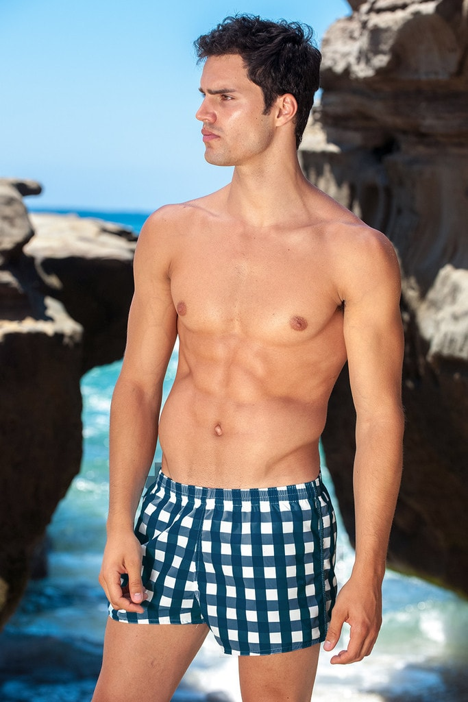 Sauvage Mens Swimwear - Plaid - Navy