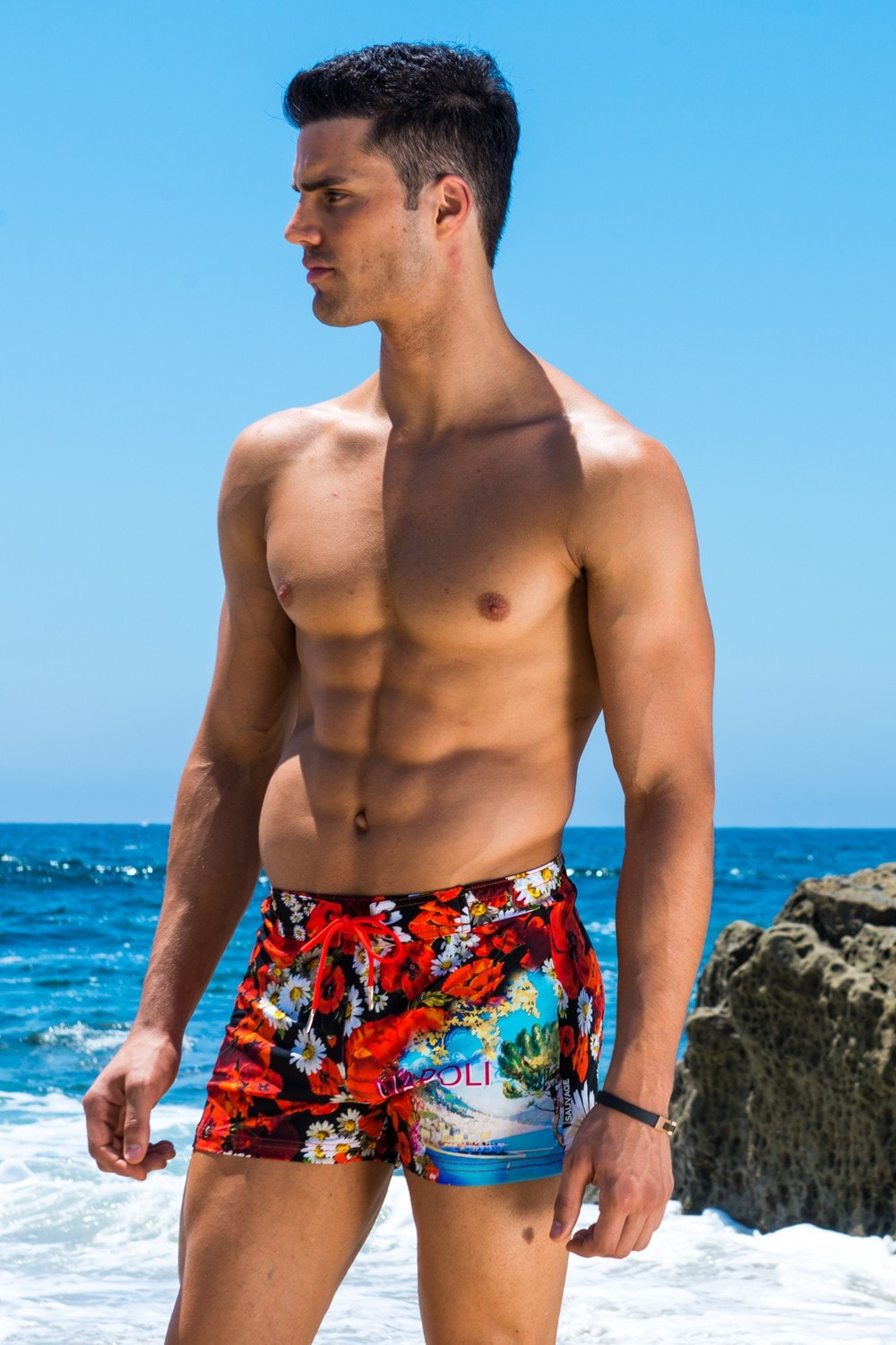 d864ffdda6 Sauvage Mens Swimwear Mens Swimwear Floral Print Swim Trunks