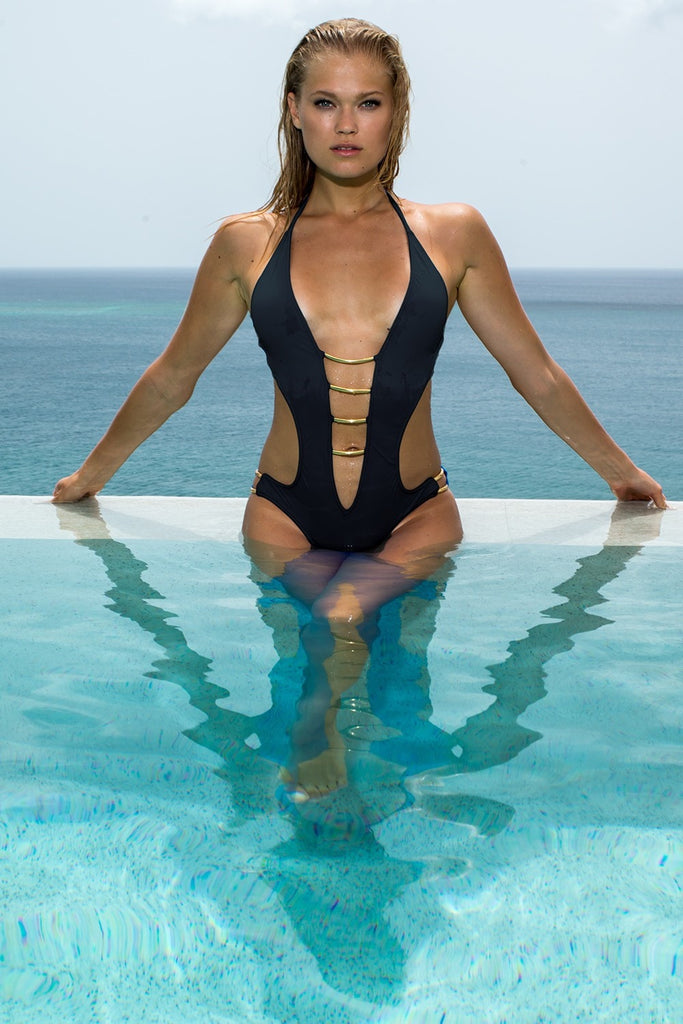 Black Plunge One Piece - Sauvage Swimwear