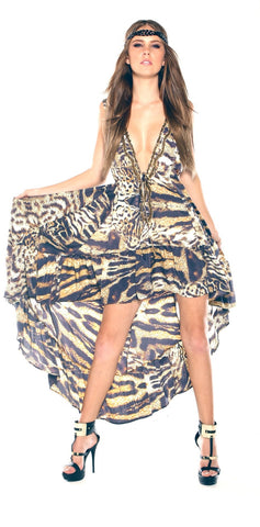 Shahida Parides designer animal print dress