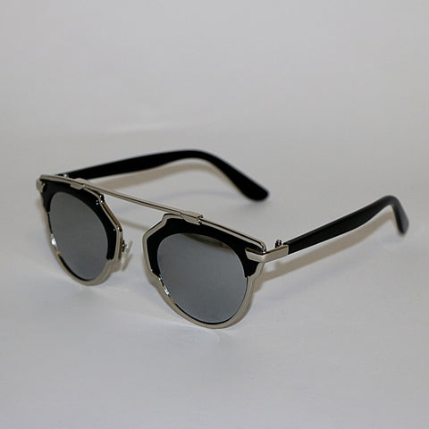 Silver Metal Sunglasses - Mirrored Sunglasses