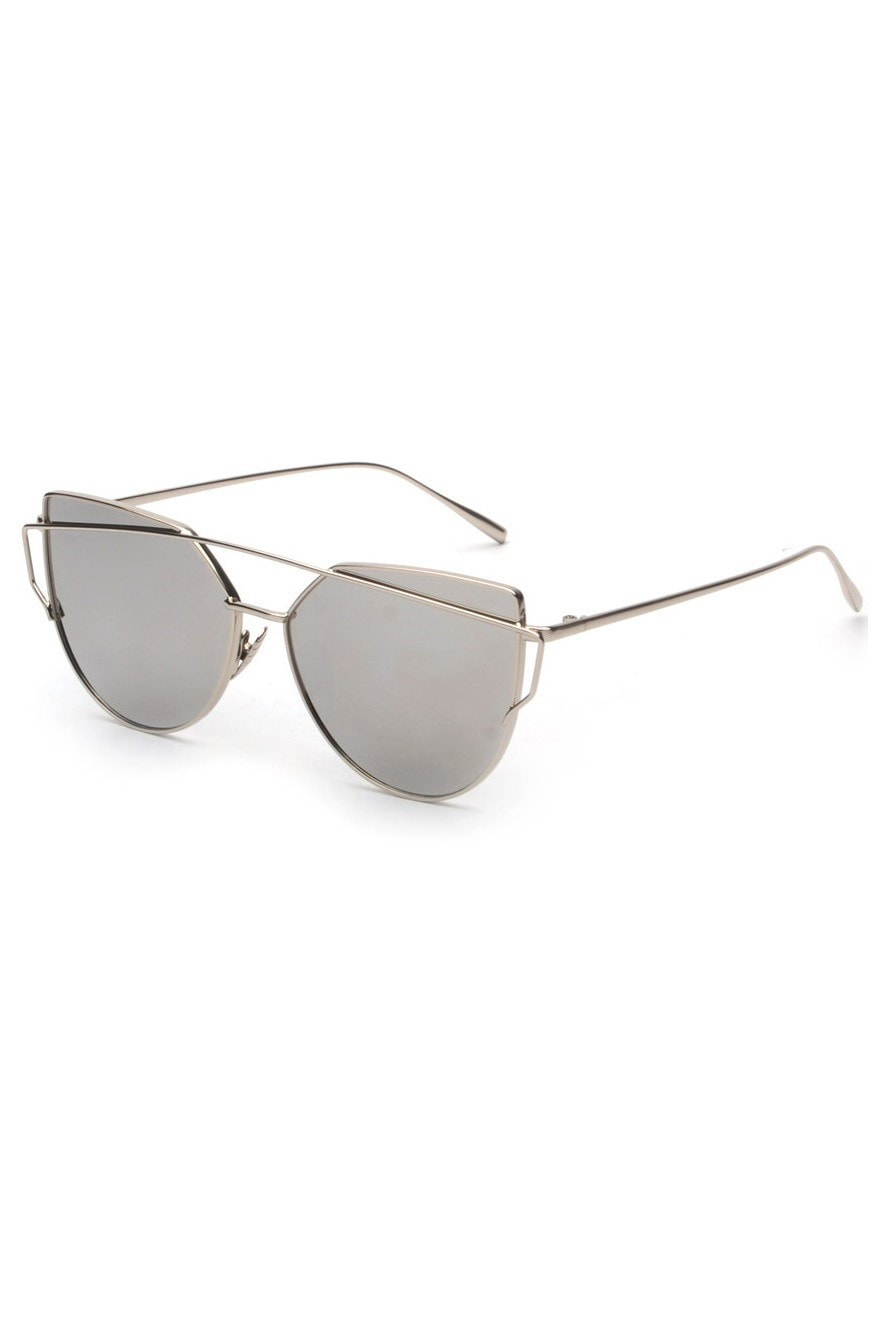 cb1d413cc3 Silver Metallic Cat Eye Sunglasses
