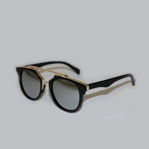 Silver Mirrored Sunglasses - Gold Rim