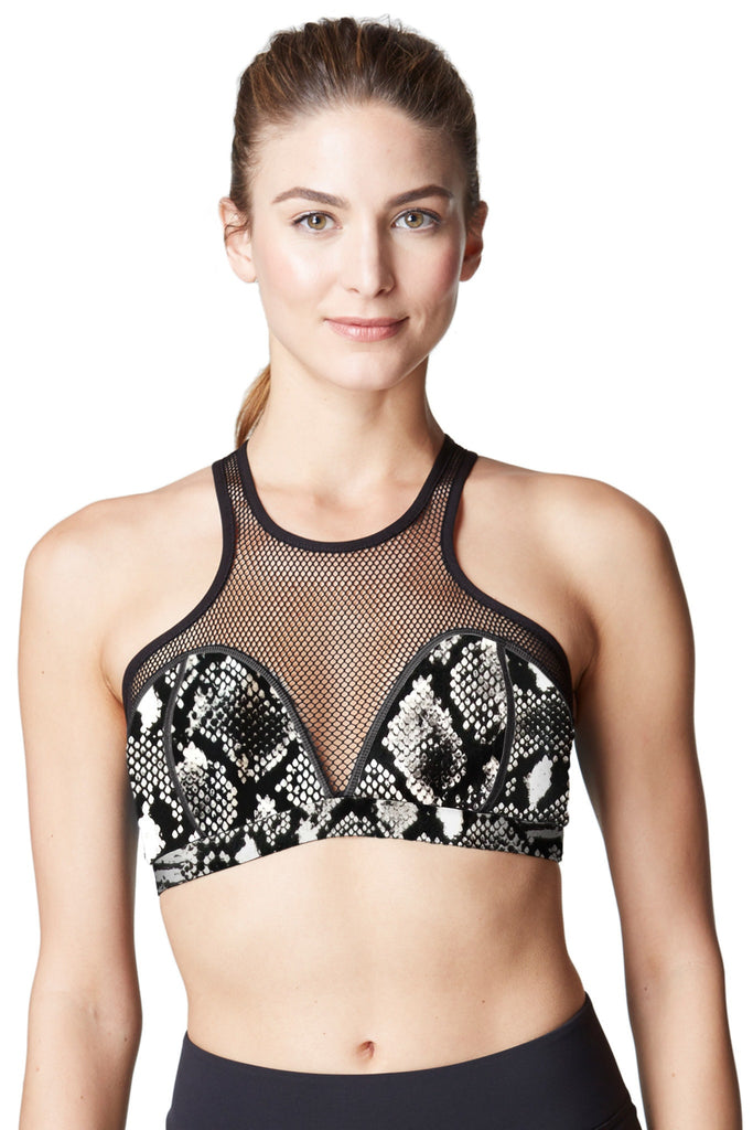 Michi Bionic Bra - Black and White Python Print