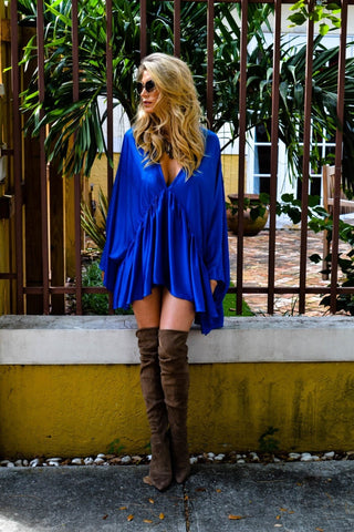 Soah Oversized Tunic Dress in Blue