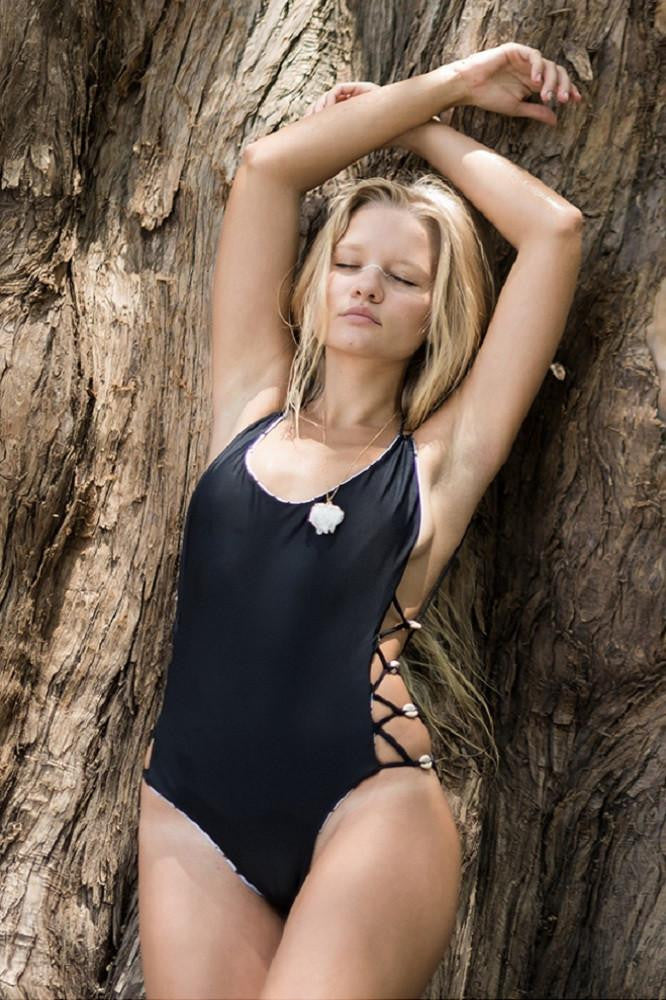 Black strappy one piece