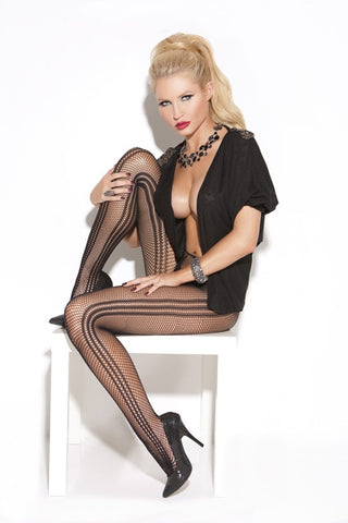 vertical striped fishnet pantyhose