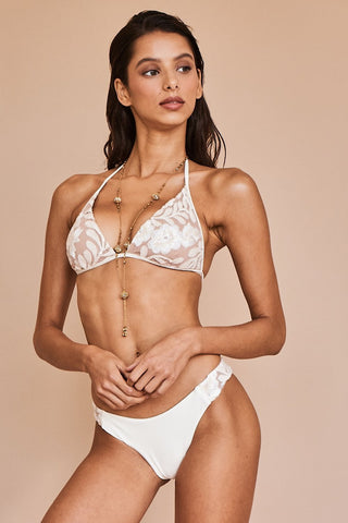 Sauvage Floral Cream Lace Bikini Set