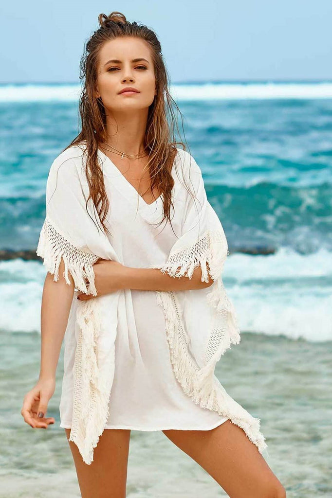 White Fringe Beach Kaftan
