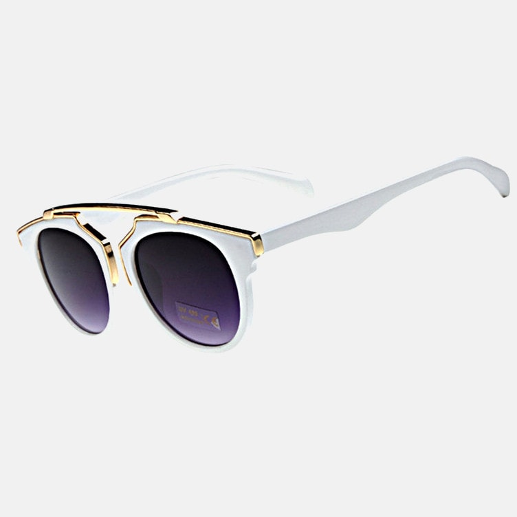 White Sunglasses with Gold Brow Bar