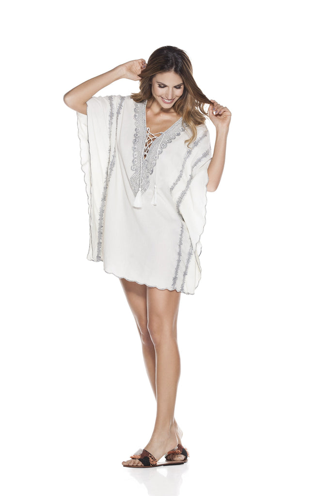 white luxury poncho