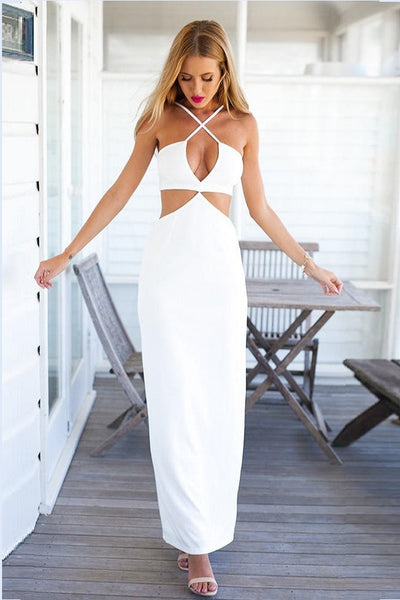 White Criss Cross Dress Marilyn Maxi