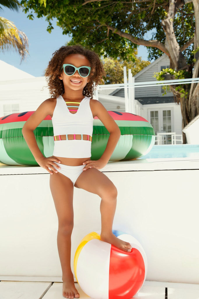 white tankini kids swimwear