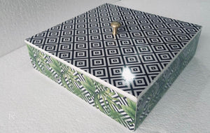 Green black and white printed box