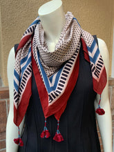 Load image into Gallery viewer, Ajrakh White polka dot scarf