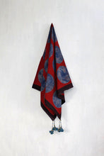 Load image into Gallery viewer, Blue and red dotted Ajrakh scarf