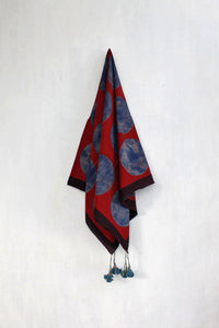 Blue and red dotted Ajrakh scarf