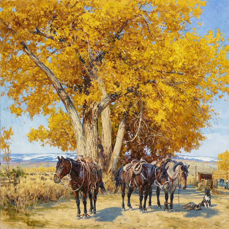 """When The Work's All Done This Fall"" Western Art by Cowboy Artists of America's Loren Entz"