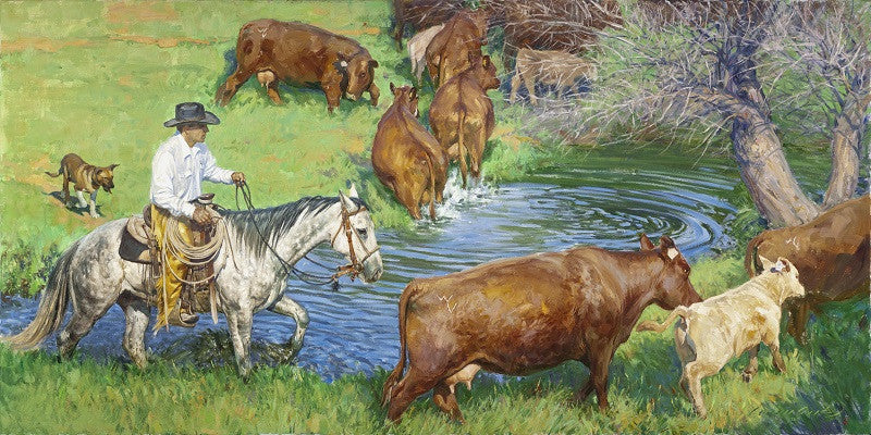 """Workin The Shallows, Nate Wald, Wald Ranch, Lodge Grass, MT"" Western Art by Cowboy Artists of America's Loren Entz"