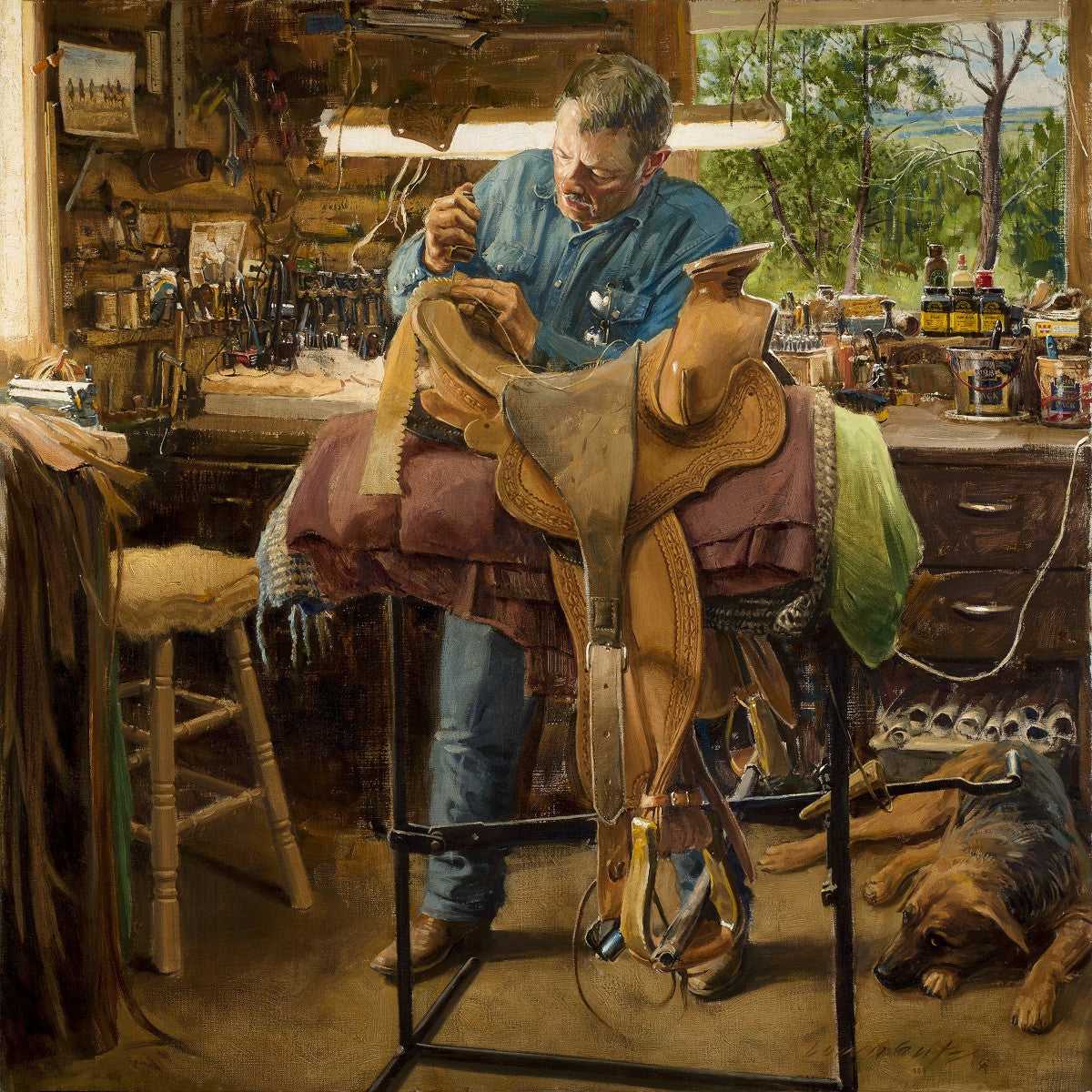 """Bill Allison - Saddle Maker - Roundup, MT"" Western Art by Cowboy Artists of America's Loren Entz"