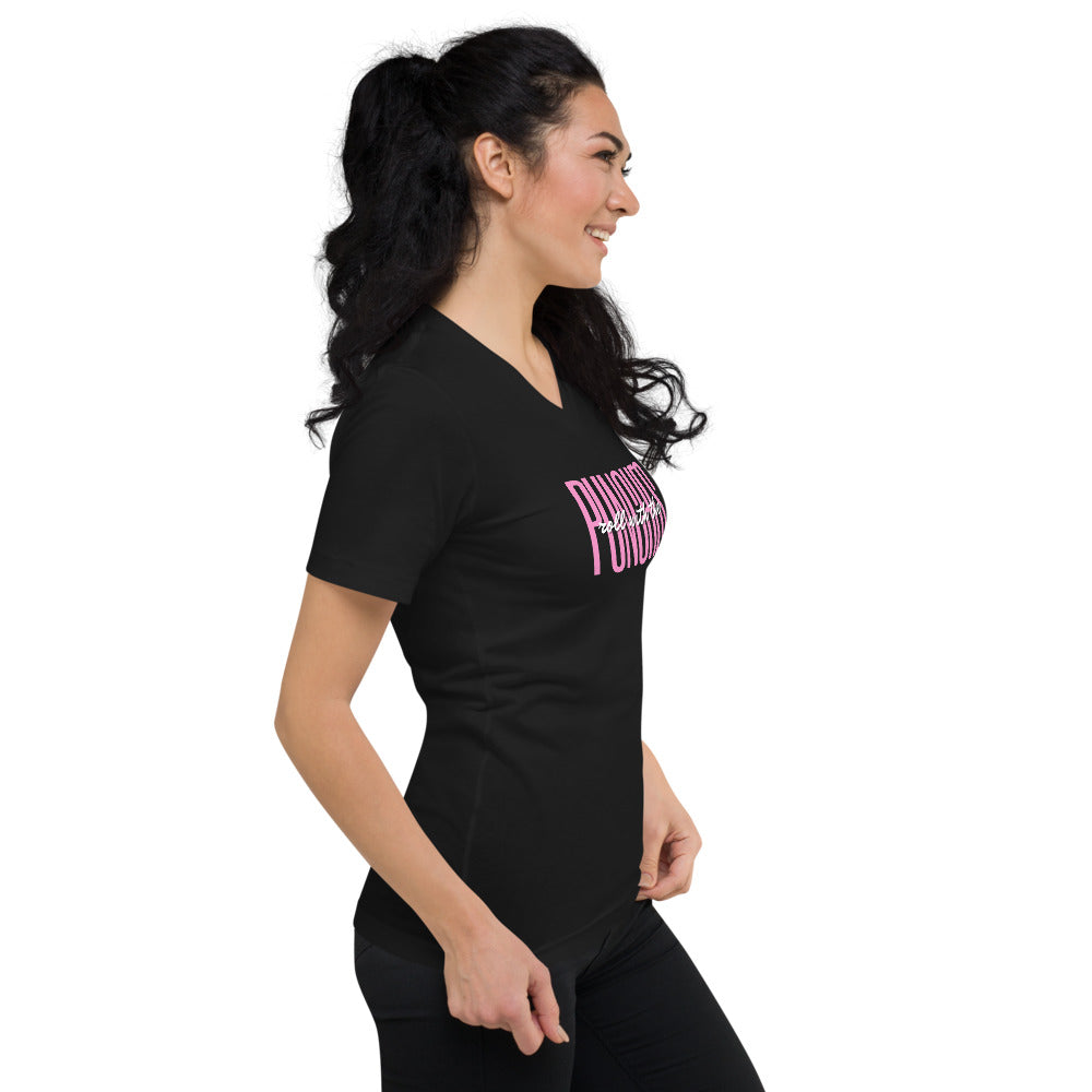 Roll with the Punches - Women's Short Sleeve V-Neck T-Shirt