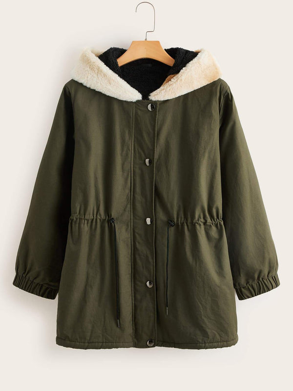 Plus Teddy Lined Drawstring Waist Hooded Parka Coat - 𝐄𝐑𝐔𝐌𝐉𝐔𝐒