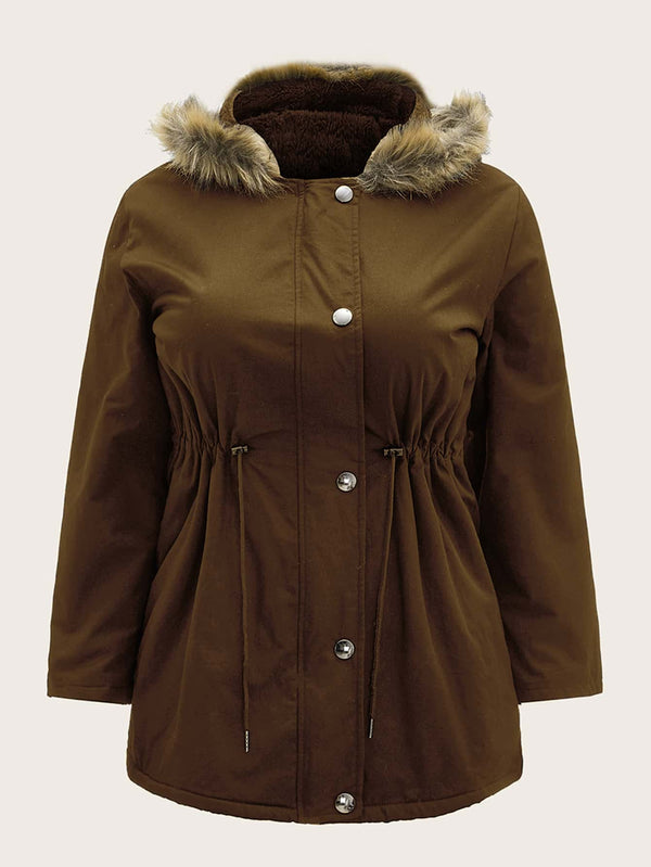 Plus Drawstring Waist Button Through Hooded Parka Coat - 𝐄𝐑𝐔𝐌𝐉𝐔𝐒