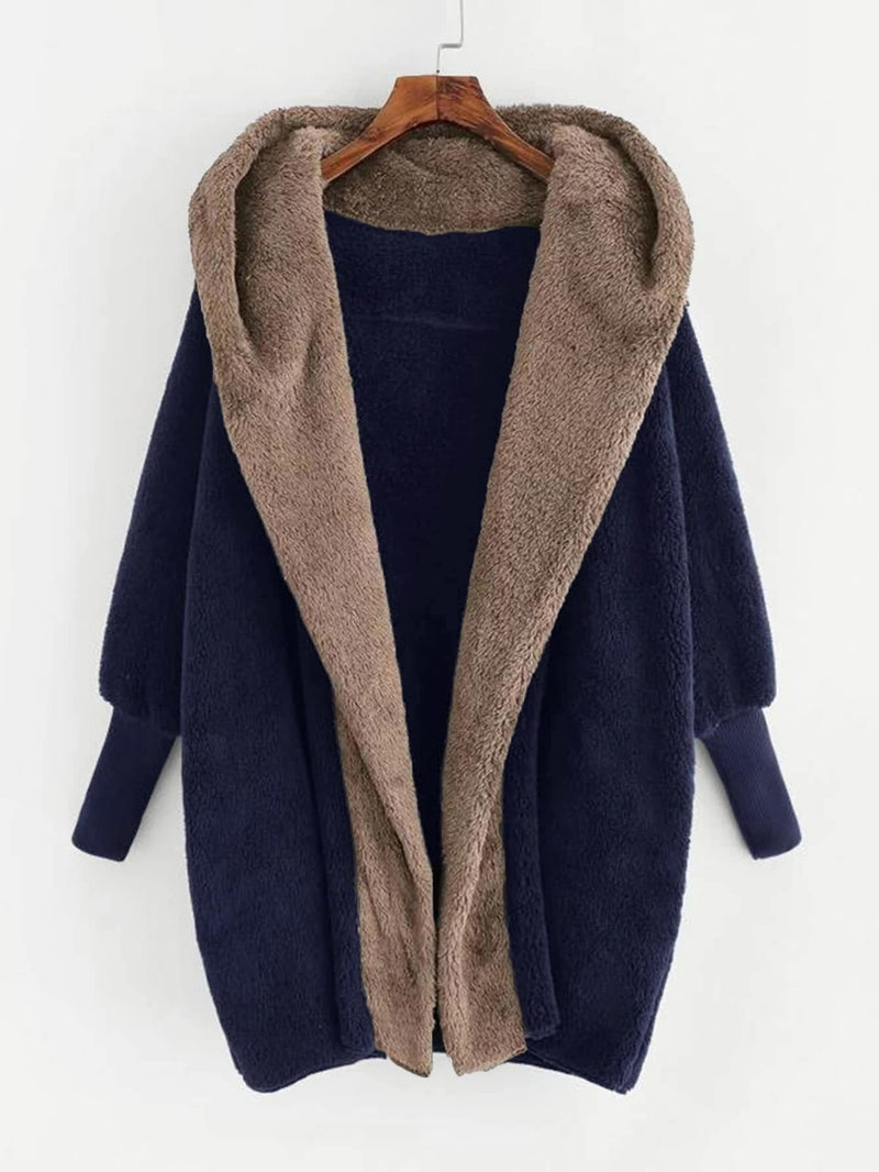 Plus Open Front Hooded Teddy Coat - 𝐄𝐑𝐔𝐌𝐉𝐔𝐒