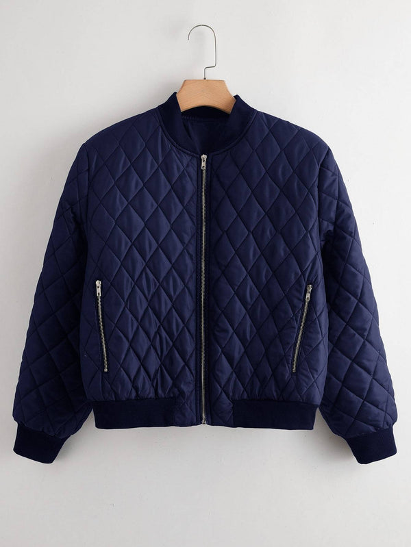 Plus Zip Up Solid Bomber Jacket - 𝐄𝐑𝐔𝐌𝐉𝐔𝐒