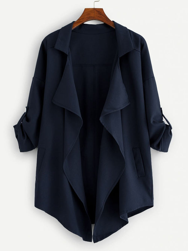 Plus Drop Shoulder Open Front Coat - 𝐄𝐑𝐔𝐌𝐉𝐔𝐒