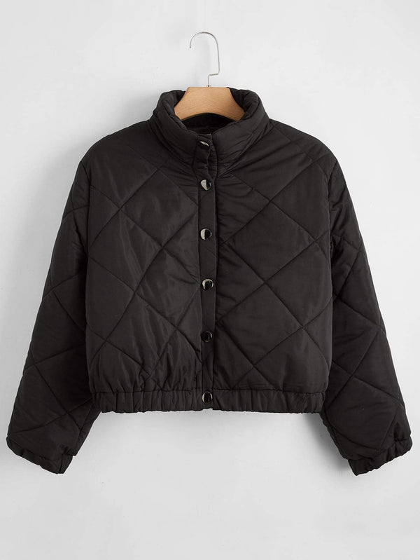 Plus Funnel Neck Single Breasted Puffer Jacket - 𝐄𝐑𝐔𝐌𝐉𝐔𝐒