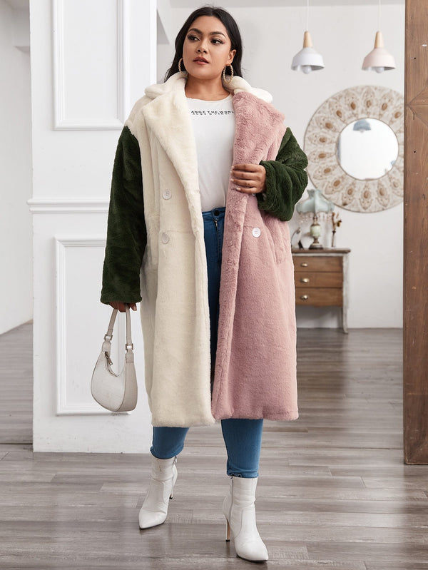 Plus Notched Collar Double Breasted Colorblock Faux Fur Coat - 𝐄𝐑𝐔𝐌𝐉𝐔𝐒