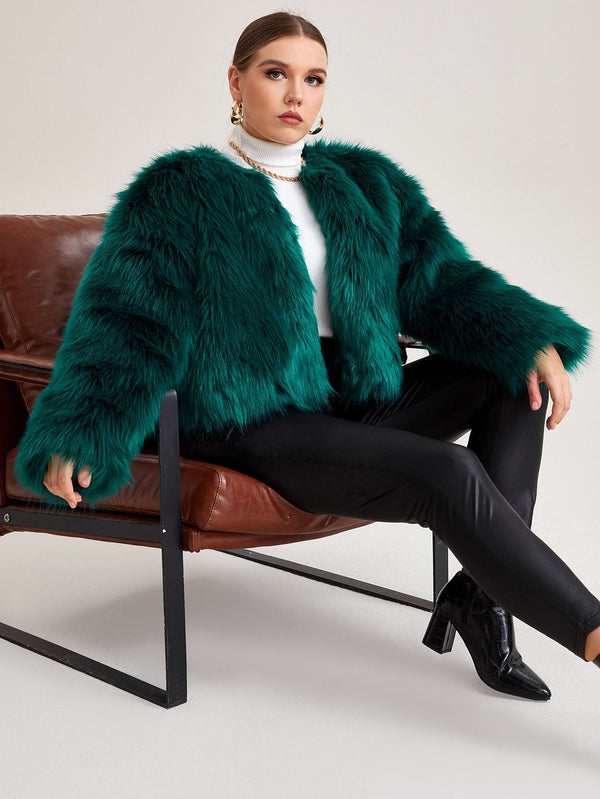 Plus Open Front Faux Fur Coat - 𝐄𝐑𝐔𝐌𝐉𝐔𝐒
