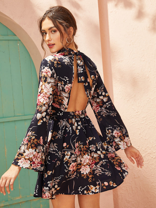 Tie Open Back Self Belted Floral Print Dress - 𝐄𝐑𝐔𝐌𝐉𝐔𝐒