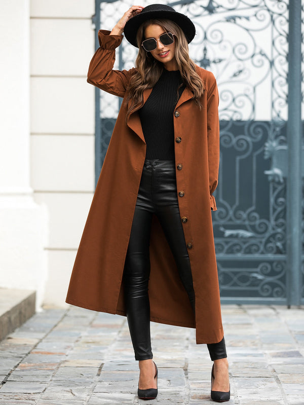 Solid Button Through Belted Longline Trench Coat - 𝐄𝐑𝐔𝐌𝐉𝐔𝐒