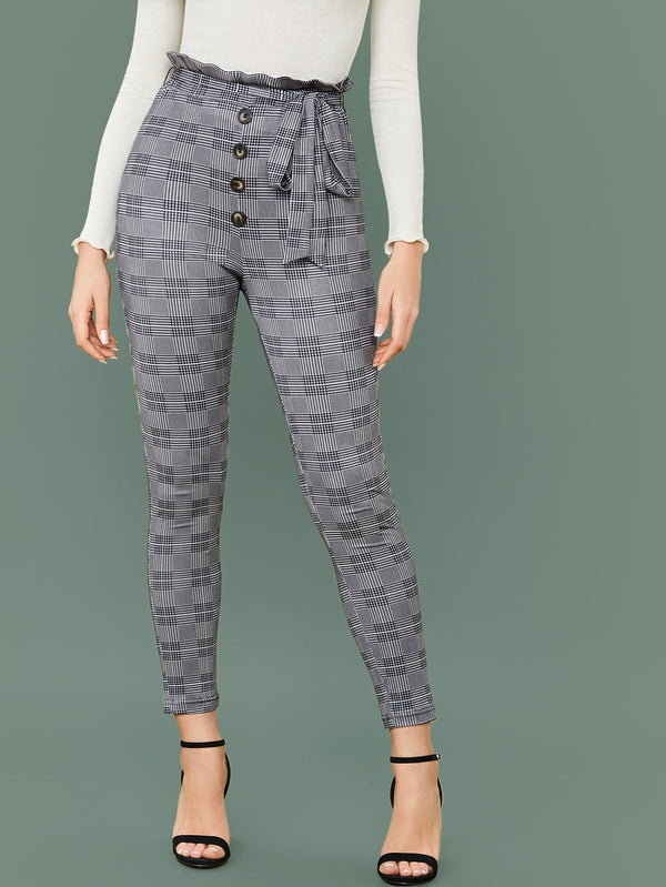 Button Front Paperbag Waist Belted Plaid Pants - 𝐄𝐑𝐔𝐌𝐉𝐔𝐒