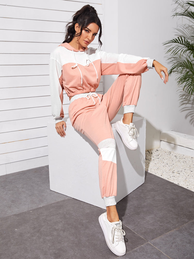 Colorblock Cropped Hoodie & Joggers Set - 𝐄𝐑𝐔𝐌𝐉𝐔𝐒