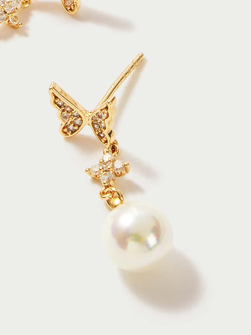 Premium Faux Pearl Butterfly Dreap Earrings - 𝐄𝐑𝐔𝐌𝐉𝐔𝐒