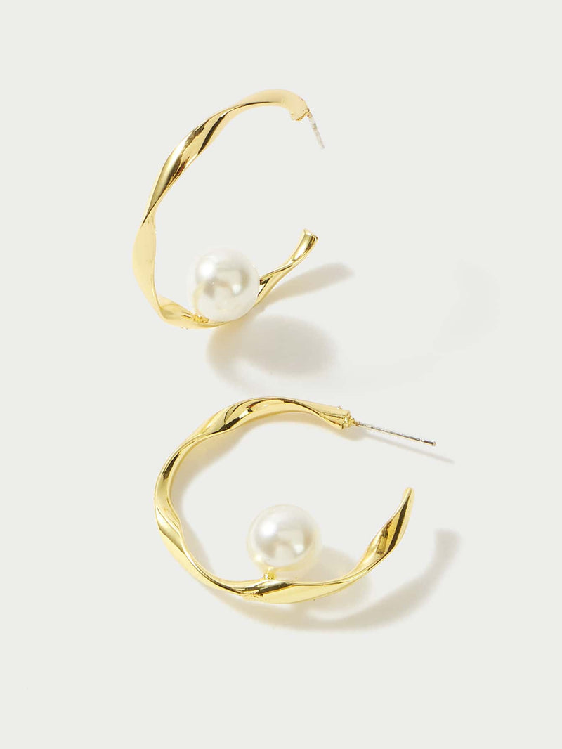 Premium Faux Pearl Pendant Hoop Earrings - 𝐄𝐑𝐔𝐌𝐉𝐔𝐒
