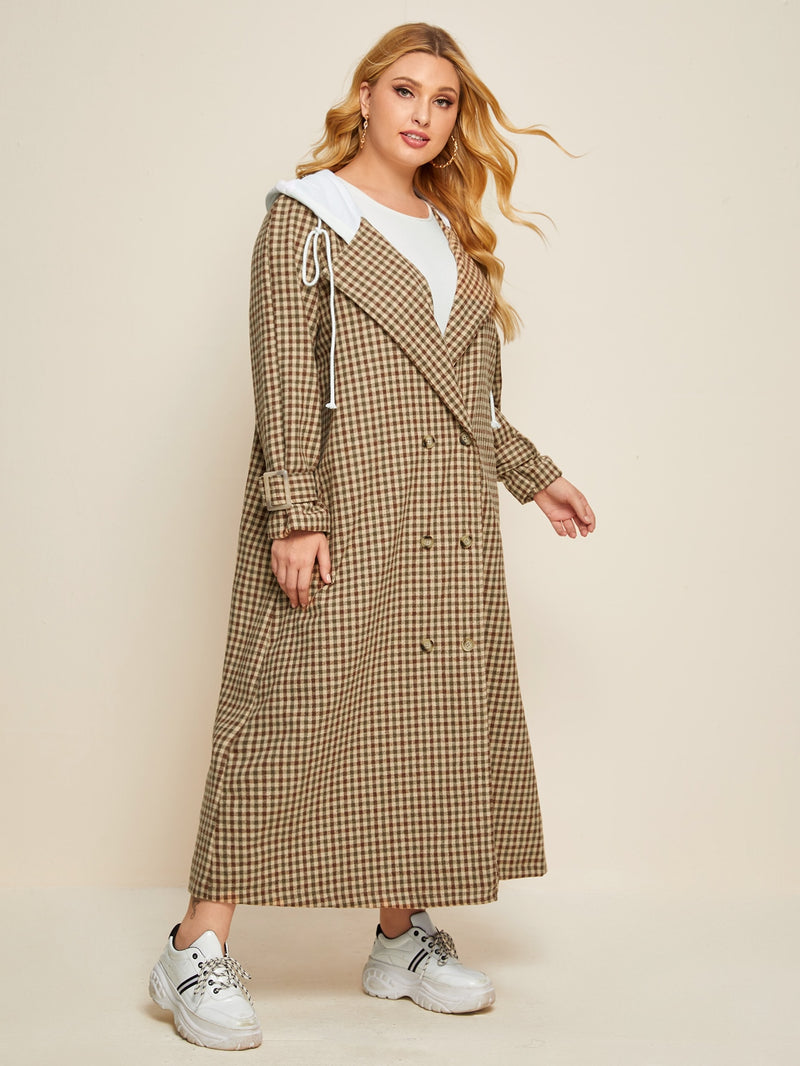 Plus Plaid Double-breasted Drawstring Hooded Longline Coat - 𝐄𝐑𝐔𝐌𝐉𝐔𝐒
