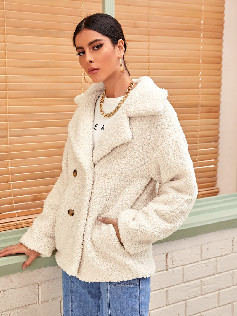Solid Lapel Neck Double Breasted Teddy Coat - 𝐄𝐑𝐔𝐌𝐉𝐔𝐒
