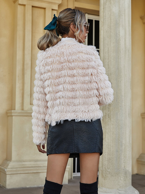Faux Fur Open Front Coat - 𝐄𝐑𝐔𝐌𝐉𝐔𝐒