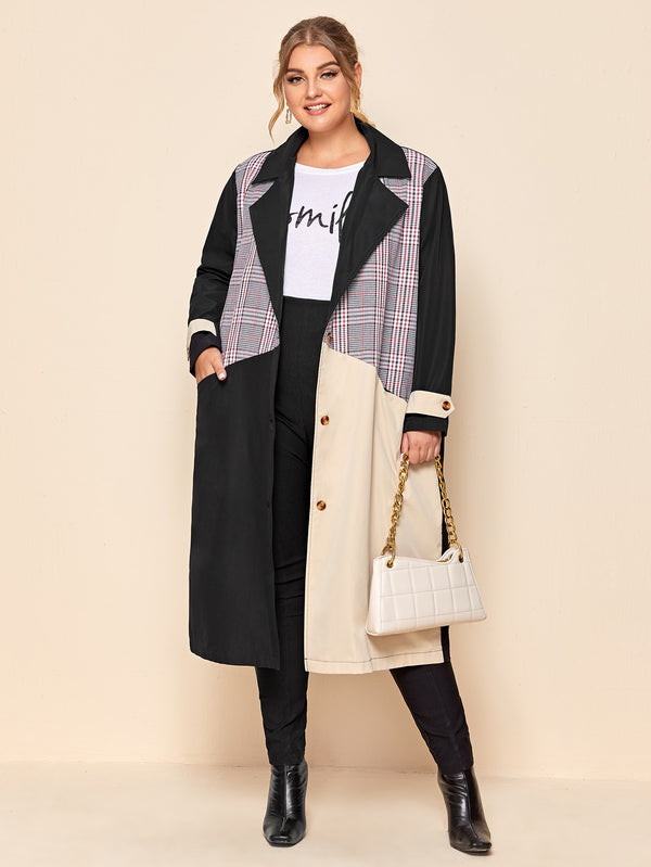 Plus Plaid Cut And Sew Lapel Collar Coat - 𝐄𝐑𝐔𝐌𝐉𝐔𝐒