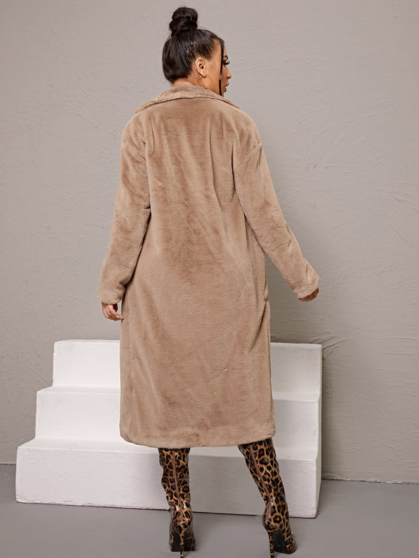Open Front Faux Fur Coat - 𝐄𝐑𝐔𝐌𝐉𝐔𝐒