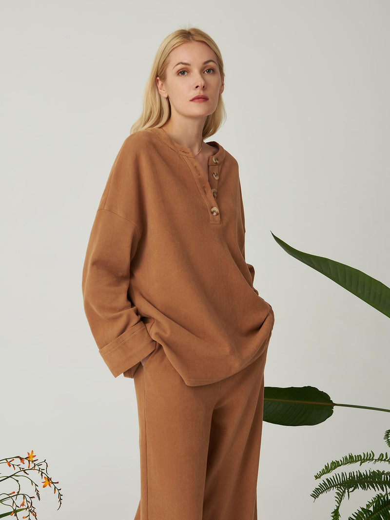 Premium 100% Cotton Oversized Henley Top - 𝐄𝐑𝐔𝐌𝐉𝐔𝐒