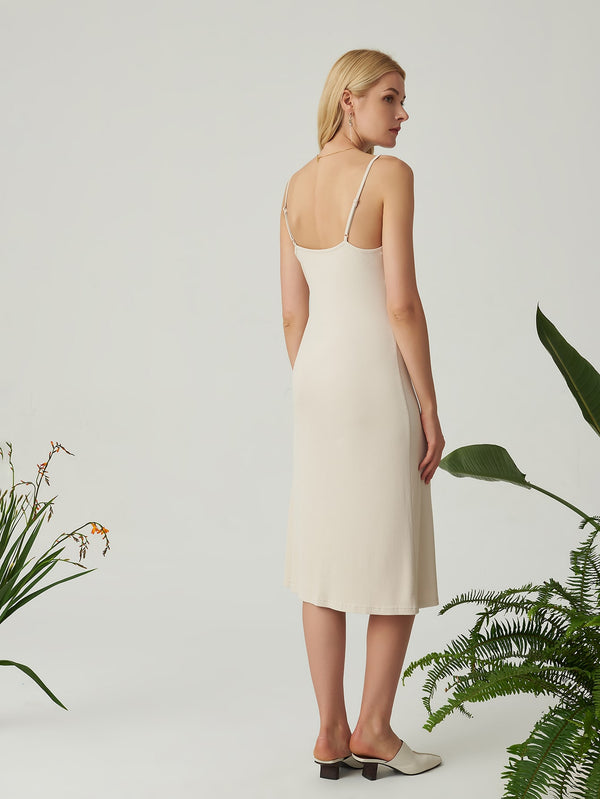 Premium Rayon Ribbed Slip Dress - 𝐄𝐑𝐔𝐌𝐉𝐔𝐒