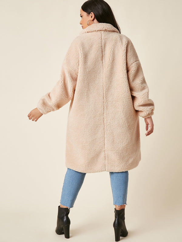 Plus Drop Shoulder Hidden Button Teddy Coat - 𝐄𝐑𝐔𝐌𝐉𝐔𝐒