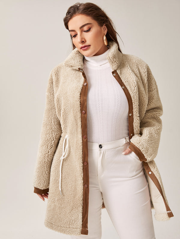 Plus Contrast Panel Drawstring Waist Teddy Coat - 𝐄𝐑𝐔𝐌𝐉𝐔𝐒