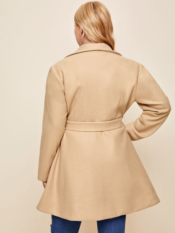 Plus Self Belted Pocket Front Overcoat - 𝐄𝐑𝐔𝐌𝐉𝐔𝐒